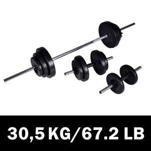 vidaXL Set cu halteră și 2 gantere 30,5 kg