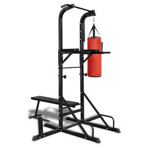 vidaXL Aparat de fitness cu bancă pentru abdomene și sac de box