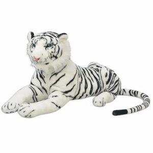 vidaXL Tigru de jucărie din pluș, XXL, alb