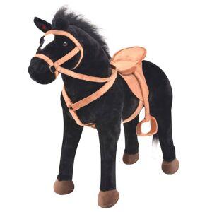 vidaXL Cal de jucărie din pluș, negru