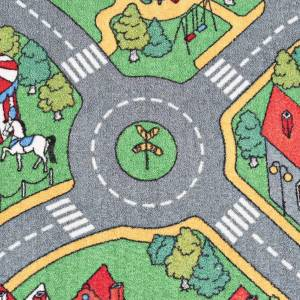 vidaXL Covoraș de joacă, fir buclat, 170 x 290 cm, model străzi urbane