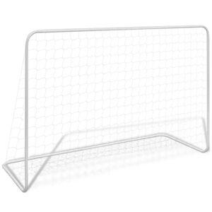 vidaXL Poartă de fotbal cu plasă alb 182x61x122 cm oțel