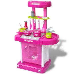 vidaXL Bucătărie de jucărie pentru copii cu lumini și efecte sonore, Roz