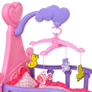 vidaXL Pat de jucărie păpuși pentru camera de joacă a copiilor, roz + violet