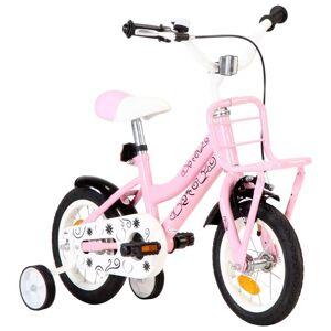 vidaXL Bicicletă copii cu suport frontal, alb și roz, 12 inci