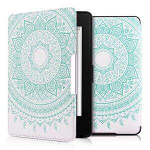 kwmobile Husa Flip cu design soare indian pentru Amazon Kindle Paperwhite 3 - menta verde
