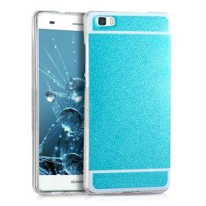 kwmobile Husa cu design sclipici pentru Huawei P8 Lite - albastru