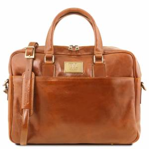 Tuscany Leather Geanta laptop barbati din piele naturala Tuscany Leather, Urbino, honey
