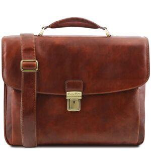 Tuscany Leather Geanta laptop barbati Tuscany Leather multi-compartiment din piele naturala maro Alessandria