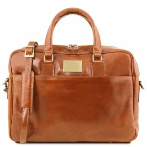 Tuscany Leather Urbino Leather laptop briefcase 2 compartments with front pocket Honey
