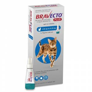 MSD Bravecto Plus Spot On Cat 250 mg (2.8 - 6.25 kg), 1 pipeta