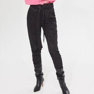 Mohito - Pantaloni paperbag cu model - Negru