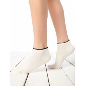 Sosete scurte ecru cu model discret pe manseta Socks Concept BRG652