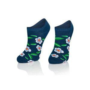 Intenso Sosete scurte jeans cu flori albastre Intenso 013 WZ29