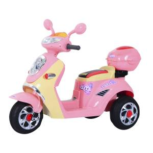 Homcom Motoreta Tricicleta Electrica pentru Fetite 6V cu Lumini si Muzica, Roz