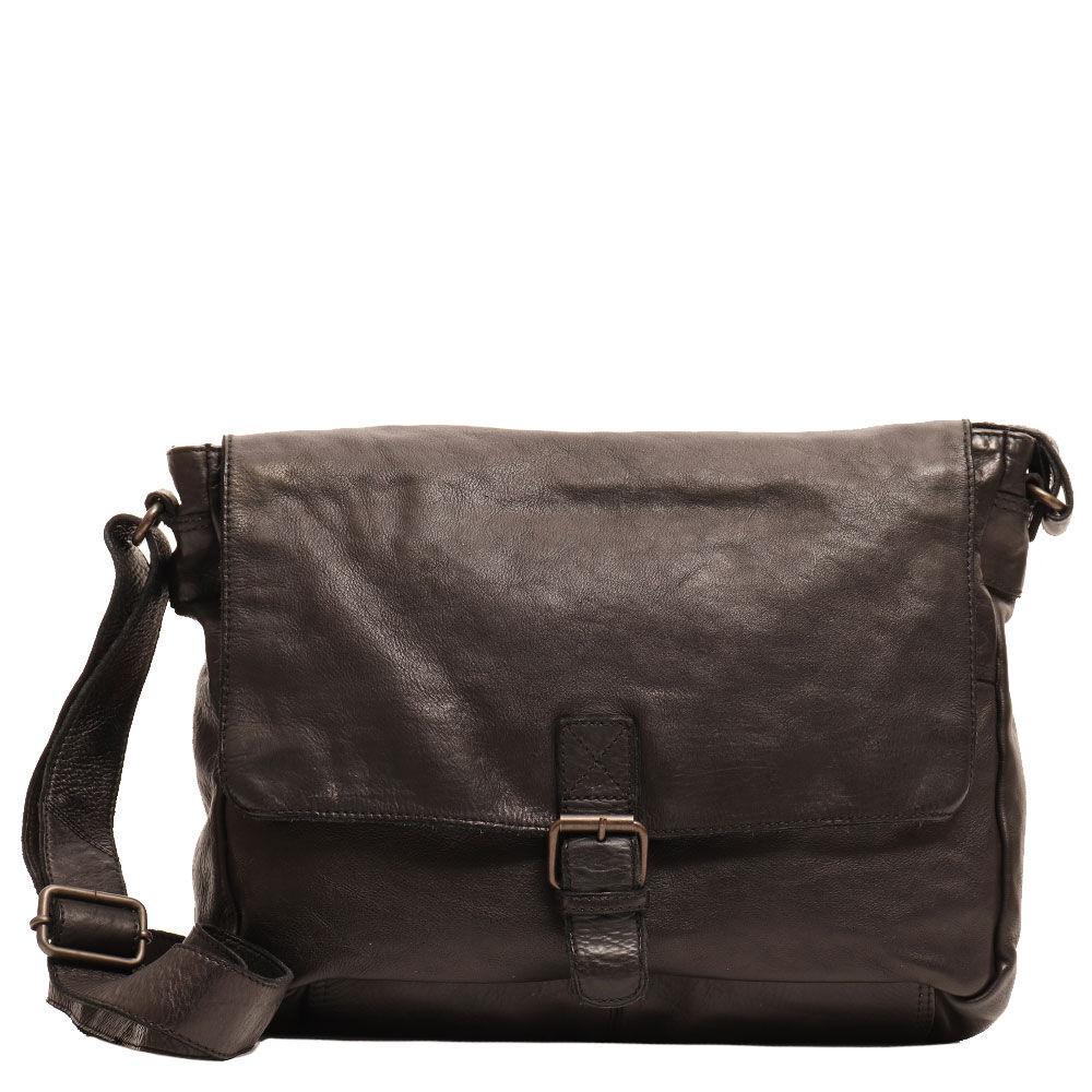 Gianni Conti Стильная мужская деловая кожаная сумка для ноутбука 13,3 дюймов  из черной кожи - Gianni Conti