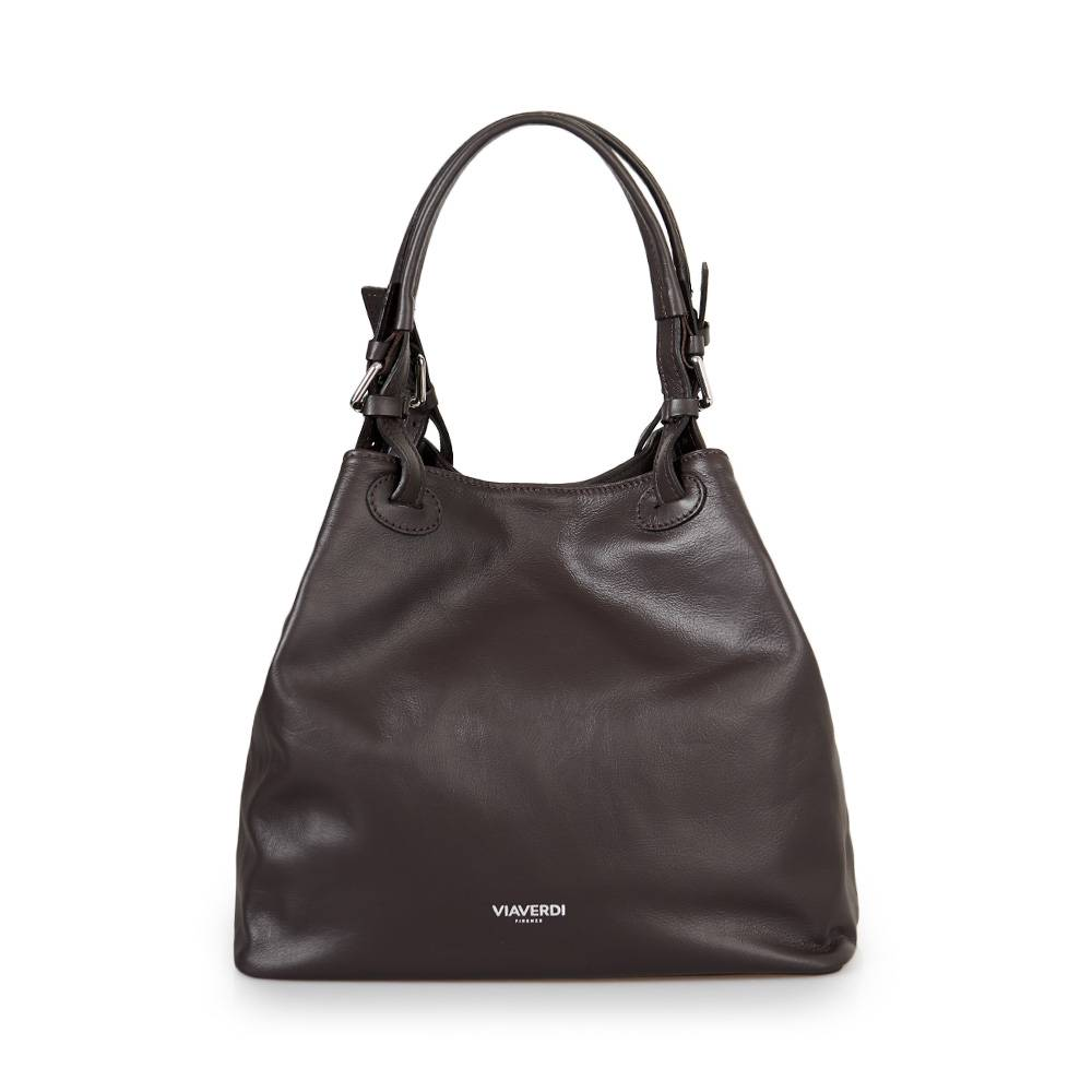 ViaVerdi Женская сумка-ведро через плечо из темно-коричневой кожи VIA VERDI. Made in Italy.
