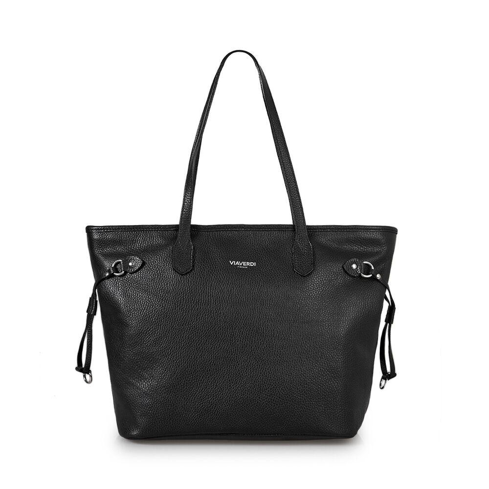 ViaVerdi Женская сумка-шоппер через плечо из черной кожи VIA VERDI. Made in Italy.
