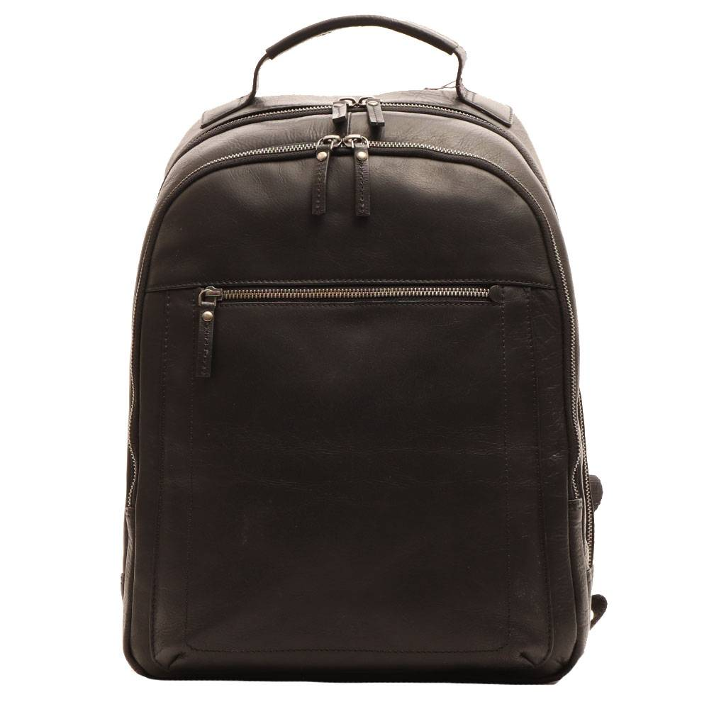 Gianni Conti Мужской рюкзак для ноутбука 14 дюймов из черной кожи - Gianni Conti