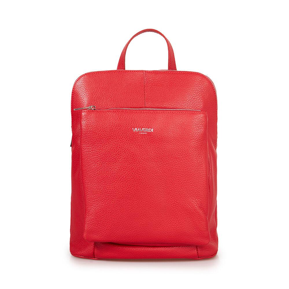 ViaVerdi Женский рюкзак из красной кожи VIA VERDI. Made in Italy
