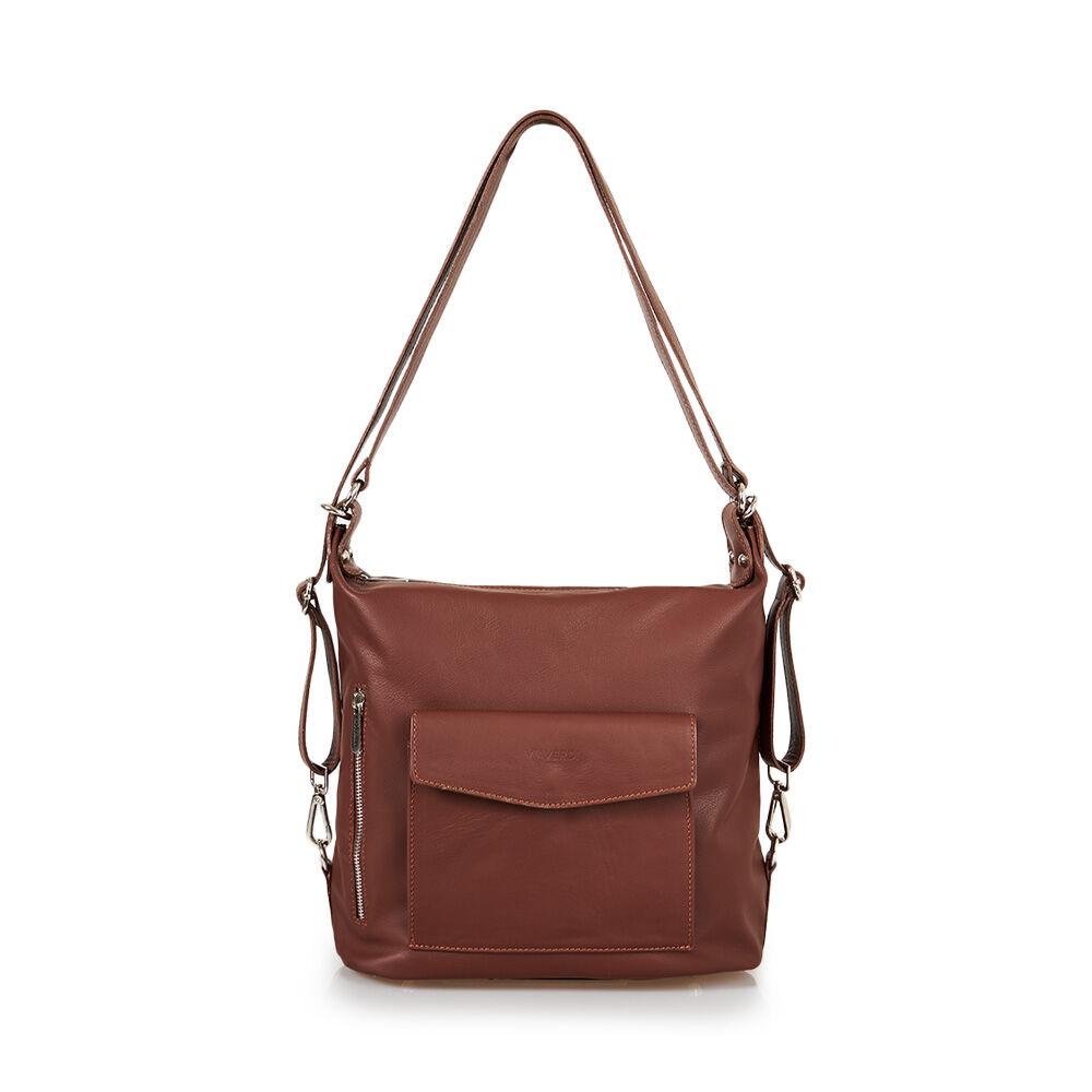 ViaVerdi Женская сумка из коричневой кожи VIA VERDI. Носится двумя способами. Made in Italy.