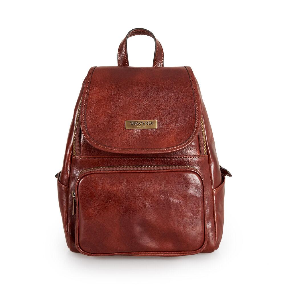 ViaVerdi Женский рюкзак с клапаном из коричневой кожи VIA VERDI. Made in Italy