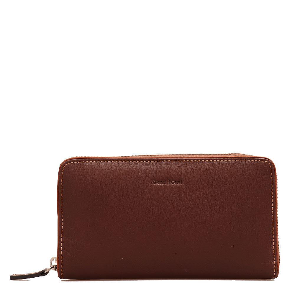 Gianni Conti Женский бумажник на молнии в коричневой коже - Gianni Conti