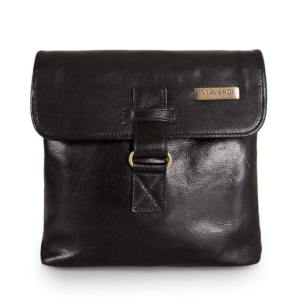ViaVerdi Мужская сумка из черной кожи VIA VERDI. Made in Italy.