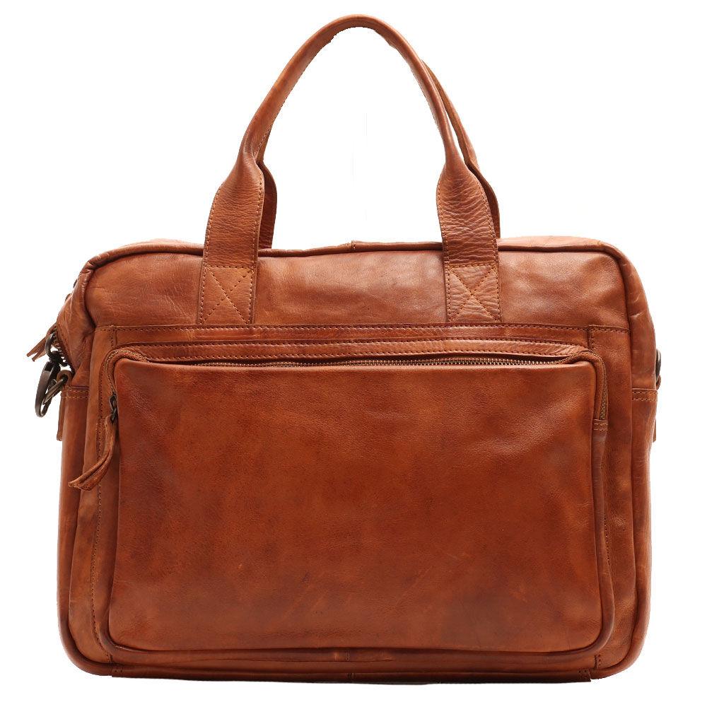 Gianni Conti Мужской портфель с двумя ручками и плечевым ремнем для ноутбука 14 дюймов, в коже коньячного цвета - Gianni Conti