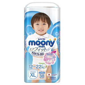 Подгузники Moony Unicharm XL 12-17кг 38шт для мальчиков 4903111183685 / 4903111-184675
