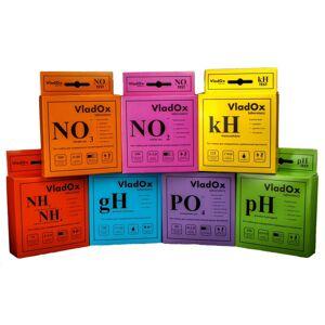 Средство Vladox 982481 - профессиональный набор из 7-ми тестов gH / kH / pH / NO2 / NO3 / NH3/ PO4
