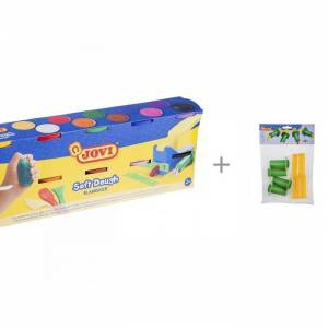 Jovi Масса для лепки 10 цветов х 110 г и Набор для лепки 4 пластиковых шприца для моделирования