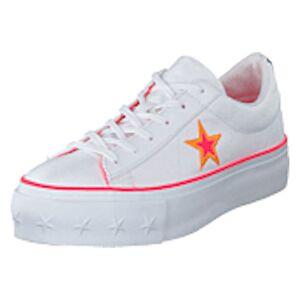 Converse One Star Platform White / Racer Pink / Orange, Shoes, vit, EU 40