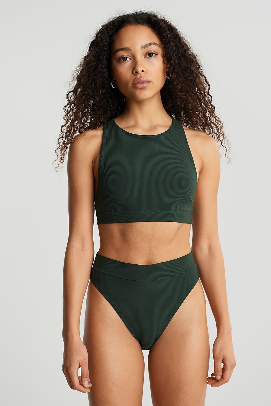 Gina Tricot Rosie rib high waist bikini brief XS Female Deep forest (6067)