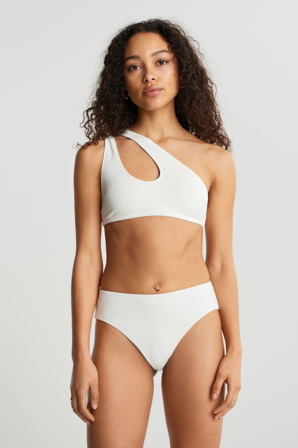Gina Tricot Nina one shoulder bikini top S Female Cloud dancer (1062)