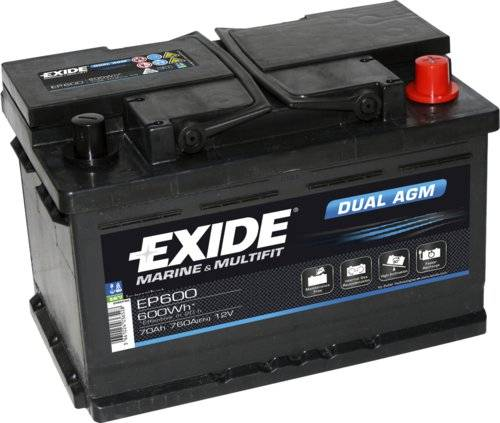 Exide/Tudor Exide marin dual agm batteri, 70ah