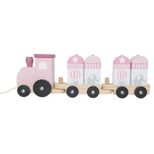 Jabadabado Dragleksak Tåg med träklossar rosa