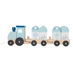Jabadabado Dragleksak Tåg med klossar blå