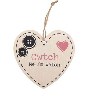 Something Different Något annat Cwtch Mig Jag är walesiska Hängande Heart Sign Flerfärgad One Size