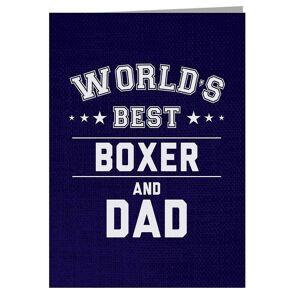 Cloud City 7 Världens bästa boxare och pappa gratulationskort Marinblå 14.5 x 21cm