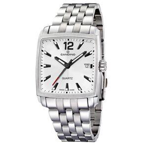 Candino schweiziska C4372-A Men's Square Silver Tone Armbandsur Quartz rostfritt