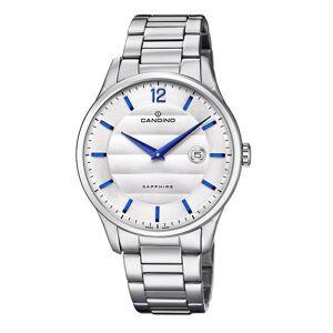 Candino schweiziska C4637-1 Men's Silver Tone Dial Armbandsur med datum Quartz rostfritt