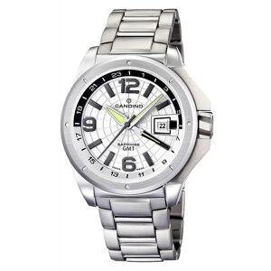 Candino schweiziska C4451-A Men's GMT Silver Tone Armbandsur Quartz rostfritt