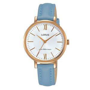 Lorus damer Elegant ljusblå läderrem klocka rose guldpläterad fodral Rose guld