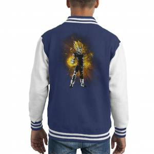 Cloud City 7 Majin Vegeta Aura gul Kid ' s Varsity jacka Marinblå/vit Large (9-11 yrs)