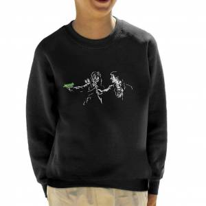 Cloud City 7 Pulp Jakt Frog Brothers Lost Boys Pulp Fiction Mashup Kid's Sweatshirt Svart Medium (7-8 yrs)