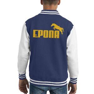 Cloud City 7 Legenden om Zelda Epona Gul Text Kid's Varsity Jacket Marinblå/vit Large (9-11 yrs)