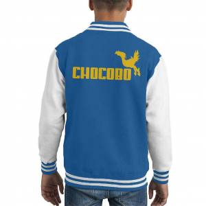 Cloud City 7 Final Fantasy Chocobo Gul Text Kid's Varsity Jacket Blå/vit X-Large (12-13 yrs)
