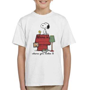 Cloud City 7 Hem är där du gör det snoopy Charlie Brown Kid ' s T-shirt Vit X-Large (12-13 yrs)
