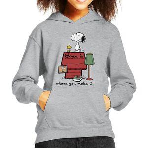 Cloud City 7 Hem är där du gör det snoopy Charlie Brown Kid ' s Huvtröja Heather Grey Medium (7-8 yrs)